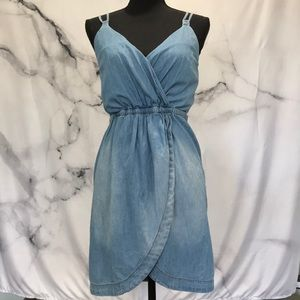 Blue Faux wrap  jean dress